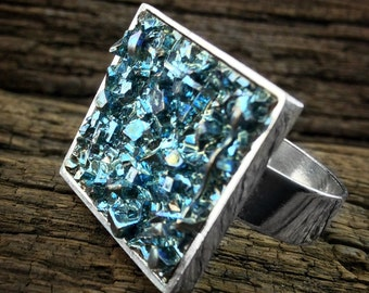"Bismuth Ring, ""Crashing Glaciers"", Bismuth Crystal Jewelry on an  Adjustable ring, Science Jewelry from a Bismuth Geode"