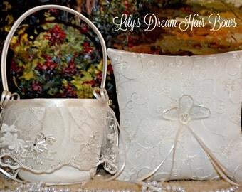 Ivory flower girl basket & ring bearer pillow, Ivory basket and ring pillow, Ivory Basket set, wedding set, ivory and ring bearer pillow