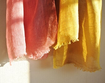 Natural Madder and Bayberry Gardenia dyed Linen 2-separated scarf with 2 vintage button brooches