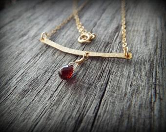 Necklace Garnet Gemstone Briolette Hammered Bar 14k Gold Filled