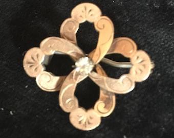 Goldtone Pin with Rhinestone