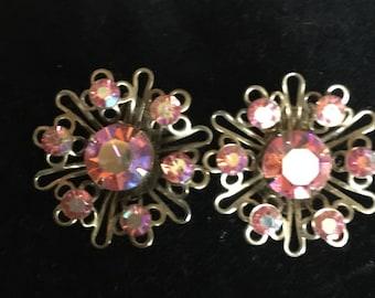 Vintage Pink Clip on Earings