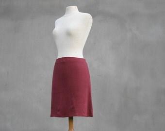 Sale, Organic red skirt, size M, mini skirt,  Bordeaux, organic linen, eco friendly design, Boho, Hippie, Solmode