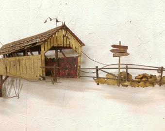 Vintage C. Jere Covered Bridge Sculpture Signed Mid Century Modern