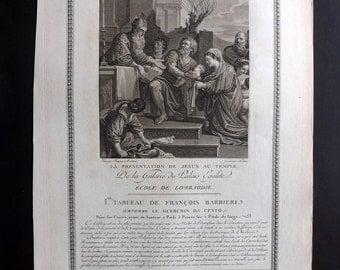 Patas after Barbieri 1786 Antique Print. La Presentation de Jesus au Temple