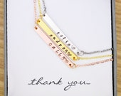 Beautiful Thin Bar Tag Necklace w Stamped Name or Initials on Link Chain, Choice of color, gold, silver, rose, Engraved, Pendant, Charm