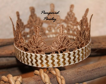 Ivory gold Crown, Queen Lace Crown, Cake Topper, Costume Crown, Birthday Party Crown, Kids Crown, Boy Crown, Gold Crown, boy photo prop
