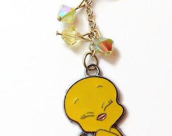 Sweet Yellow Bird Dust Plug, Phone Jewelry, Bling IPhone Jewelry, Swarovski, Gift Idea