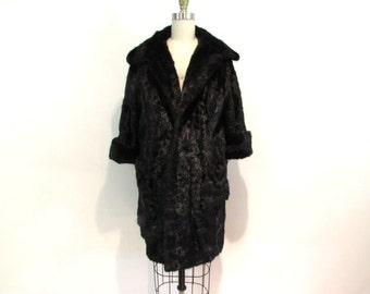 1950s mink fur coat / mohogany mink swing coat / fur coat size 6 / fur coat size 8 / three rivers furs