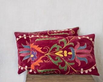 Uzbek suzani pillows, 12x18, TWO, decorative pillow, silk cotton, pink velour pillows, embroidered pillows, tribal decor, ethnic decor, 50