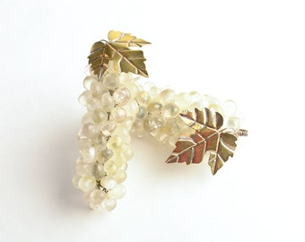 Vintage polished stone grapes set of two – grape décor – Mid-Century grape clusters