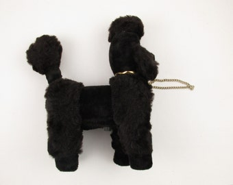"Black Poodle Radio - Stuffed Poodle With AM Radio - 12"" Tall Poodle With Gold Color - Radio - Poodle"