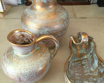 ANTIQUE GOLD Stangl Pottery 3 pc