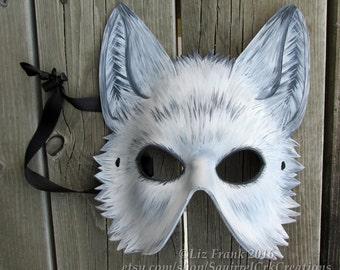 Half White Wolf Mask, Leather Mask, Animal Costume, Fursona, Leather wolf, Role play,  LARP Garb, Halloween