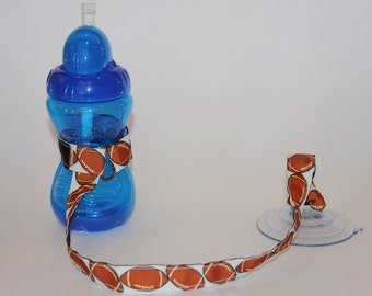 Sippy Cup Leash | Sippy Strap | Sippy Cup Strap Suction Cup | Bottle Tether | Sippy Cup Strap | Suction Sippy Strap | Football