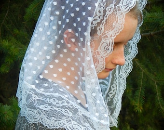 White Polka Dot Lace Adult Veil, PO#ZW01