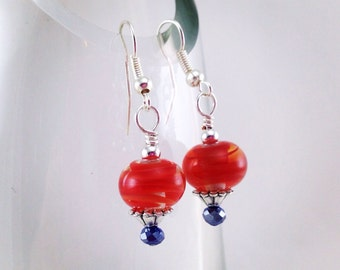 Hand blow beaded earring, orange and blue, dangle earrings, fashion accessories