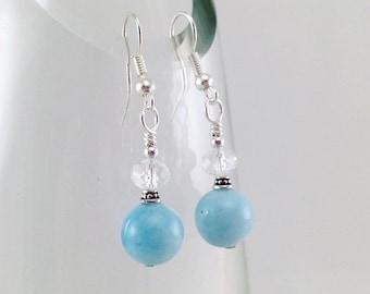 blue quartz dangle earrings, blue earrings, dangle earrings, fashion accessories