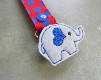Pacifier Leash Paci Clip - Elephant with Royal Blue Heart Ear Feltie Metal Pacifier Clip