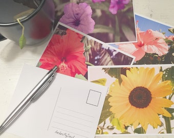 Floral Postcards Set of 4 - Sunflower Violet Hibiscus Flowers - Stationary Mail Photograph Print 4 x 5