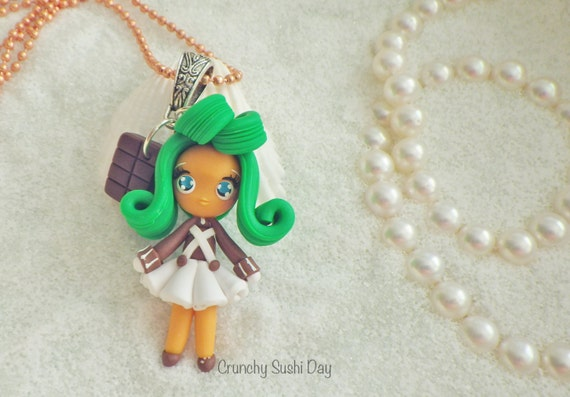 Oompa Loompa Girl, Willy Wonka, Polymer Clay Pendant, Chocolate Necklace, Cosplay, polymer clay, clay pendant, Kawaii, Chibi, Necklace
