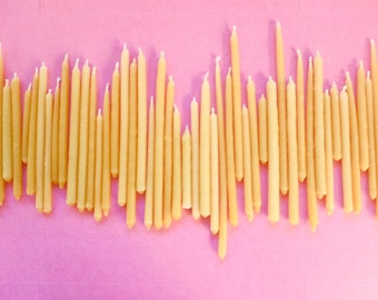 Beeswax Birthday Candles: Random Length Pack of 12 Hand Dipped Yellow Beeswax Mini Tapers