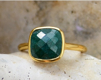 ON SALE Green Emerald Ring - May Birthstone Ring - Gemstone Ring - Stacking Ring - Gold Ring - Cushion Ring - Bezel Set Ring - Sterling Silv