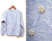 Reserved for Josie 80s Periwinkle Pearl Embellished Cableknit Cardigan Sweater Women's Medium