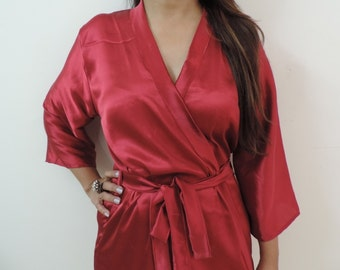 Code: H-16 Satin Solid Color Kimono Crossover patterned Robe Wrap - Bridesmaids gift, getting ready robes, Bridal shower favors, baby shower