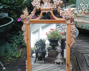 vintage pine carved mirror