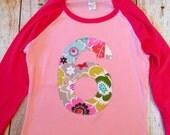Modern Flower purple 6 for 6th girls Birthday shirt fuchsia hot  Pink Raglan Rainbow Any Number Birthday 1 2 3 4 6 7 8 9 sixth six year old