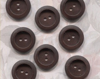 Set of 8 Old Brown Plastic Buttons- 11/16 in