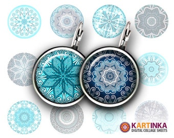 15mm 12mm Printable Images CHRISTMAS MANDALA Digital Download for Earrings Cuff links Pendants Rings Bottle caps Crafting projects