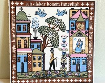 Berggren Ceramic Tile Swedish Dalmalningar 6 x 6 Kitchen Trivet Wall Decor Colorful Scenes #151 'If You Darn His Socks He Will Walk on Roses