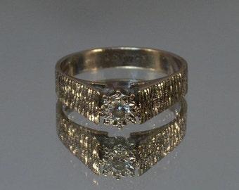 DEADsy LAST GASP SALE Diamond Engagement Ring // 18K White Gold Engagement Ring // English White Gold Solitaire Diamond Ring