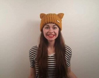 Charming Mustard Morthunder Crochet Cat Hat