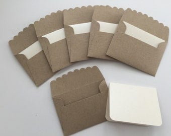 Mini Kraft Envelopes, Mini Envelope with Note Cards, Mini Note Cards Set, Mini Envelope with Inserts, Kraft Envelopes, Wedding Guest Book