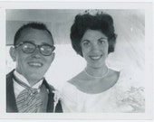 Bride & Groom in Wedding Limo, c1960s: Vintage Snapshot Photo [510426]