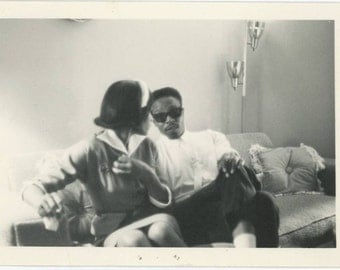African-American Couple on Couch, 1967: Vintage Snapshot Photo (61448)