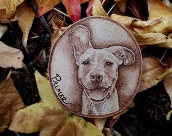Custom Dog Woodburned Ornament