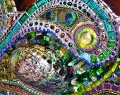Mosaic  Paua shell & Peacock feather mirror - mosaic art