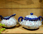 Hand Painted Cobalt and Roses Creamer and Covered Sugar Bowl