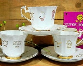 Set of Three Red Rose Tea English Cup of Fortune Teacups and Saucers Plus Booklet Tea Leaf Reading Fortune Telling