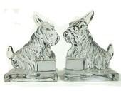 Vintage Cambridge Glass Scottish Terrier Bookends
