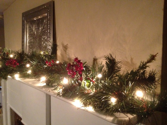 Christmas Mantle Red Berry Garland Christmas Garland Holly