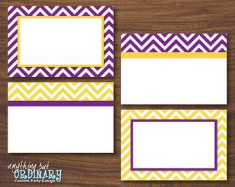 Editable Buffet Cards in Purple and Gold, Chevron Printable Graduation Food Labels, Table Tents, INSTANT DOWNLOAD, digital file