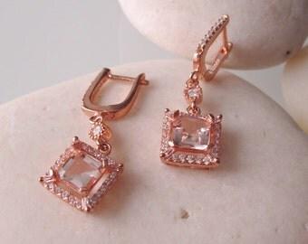 Rose Gold Morganite Earring- Pink Bridal Earring- Halo Morganite Dangle Earring- Cushion Cut Earring- Square Dangle Earring