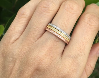 Full Eternity Wedding Band- Rose Gold Wedding Band- Stackable Sterling Silver Band- Cubic Zirconia Eternity Band