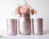 Valentine's Day Decor Gift for her Rose Gold Decor Painted Mason Jars Home Decor Pink Wedding Decor Vase Centerpiece