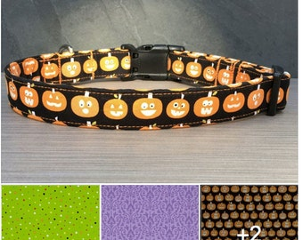 Dog Collar Halloween PREORDER Print Fabric  100% Cotton with a nylon webbing core sizes Small - Medium - Large - X-Large -